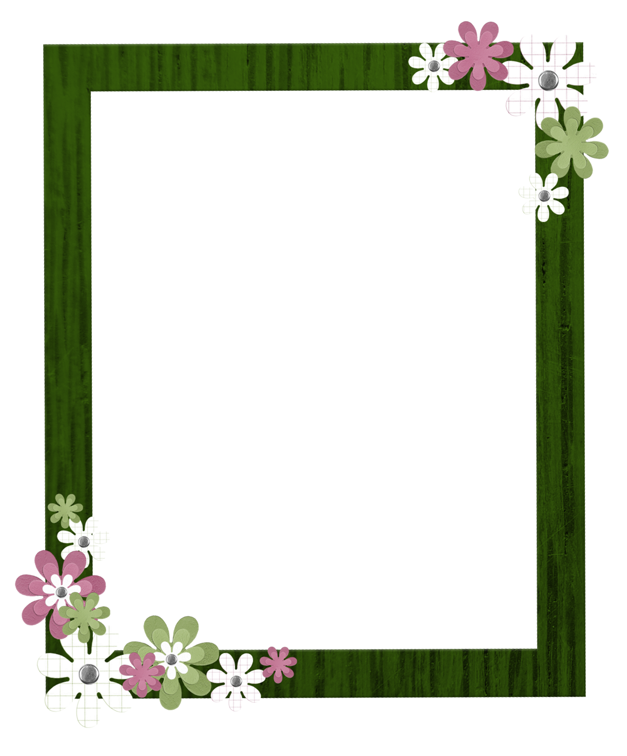 marisa-lerin-green-flower-frame-asset-pink-white-wood-embellishment ...