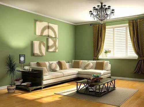 Sala Moderna Decorada Con Paredes Verdes Sof Crema Con Cojines