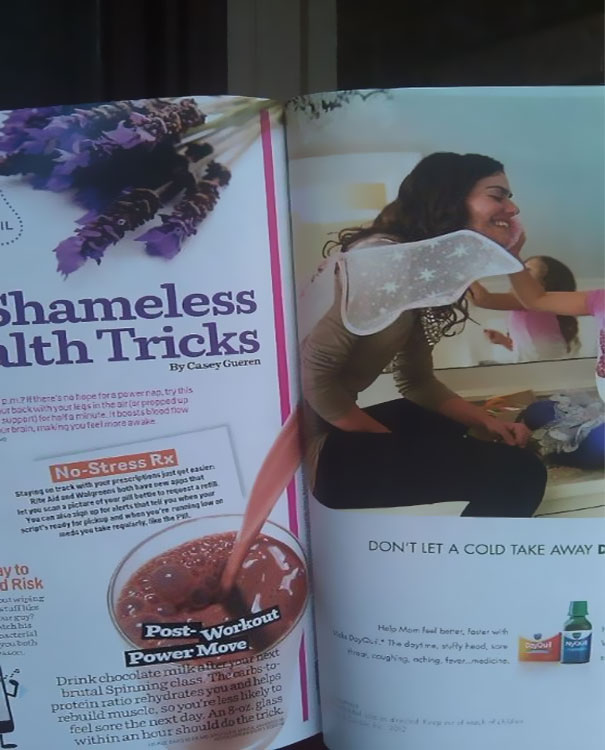 Unfortunate magazine ad juxtaposition