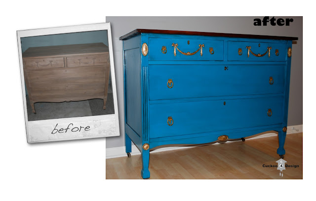 aqua and gold dresser by cuckoo4design