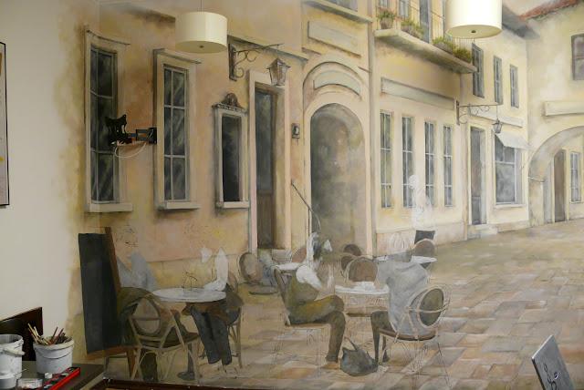 Wandmalerei, Anordnung der bar, Warszawa, artystyczne malowanie baru.