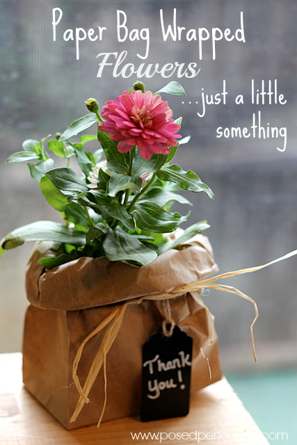 Posed perfection paper bag wrapped flowers just a little something try wrapping a simple garden flower in a brown mightylinksfo Gallery