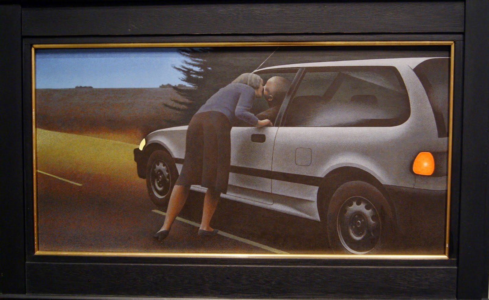 Alex Colville Exhibit at Art Gallery of Ontario in Toronto,Kiss With Honda,1989, paintings, art, artmatters, culture,ontario, Canadian Artist, Painter, Canada