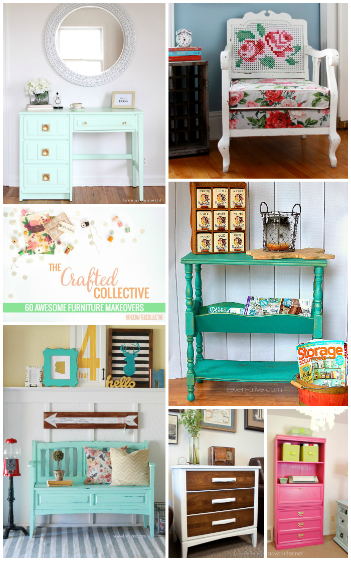 60 Awesome Furniture Makeovers--Great inspiration for your next furniture makeover! www.pitterandglink.com