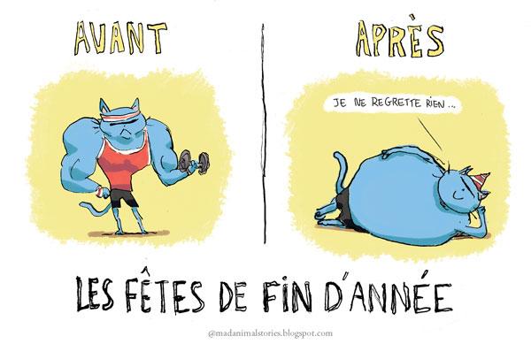 Avant et après les fêtes je suis gros ! . Before and after Christmas Eve.