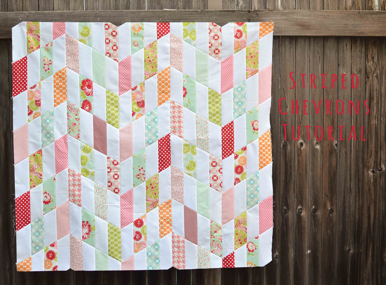 A bright corner 15 favorite free baby quilt patterns striped chevrons quilt tutorial from kitchen table quilting baditri Choice Image