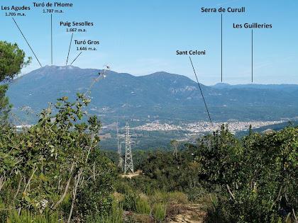 El Vallès i el Montseny des de la línia d'alta tensió de Sant Celoni a Mataró