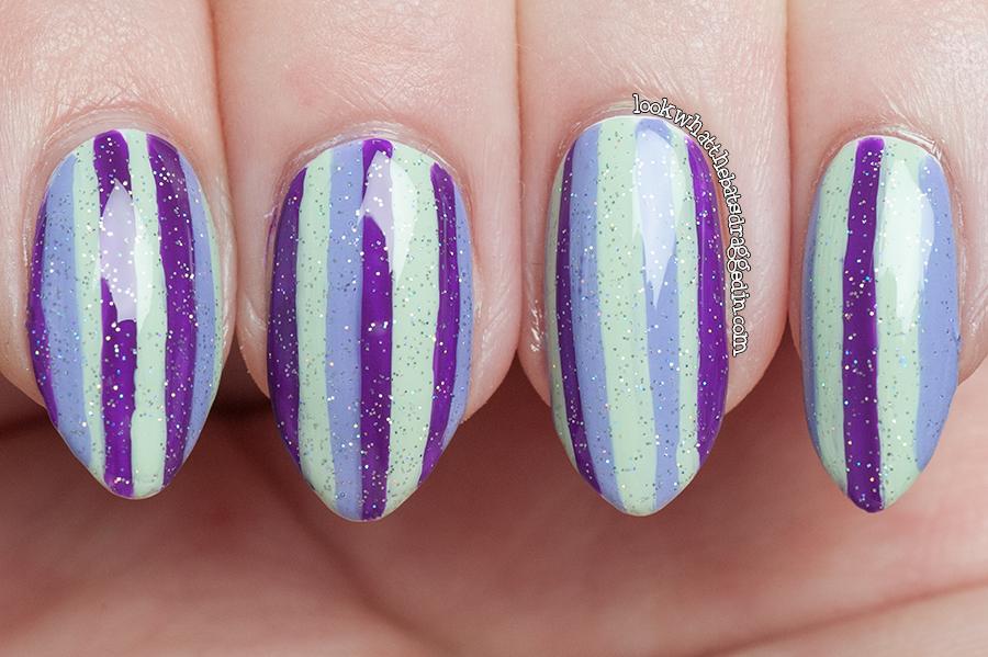Freehand striping manicure Ulta3 Lily White, Spring Break, Sally Hansen Mint Sorbet, Essence Absolutely Blue China Glaze Fairy Dust nail polish.