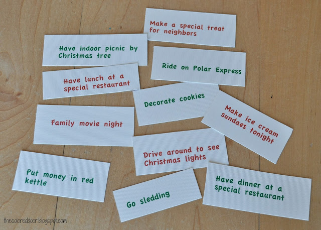 advent activity cards - the colored door
