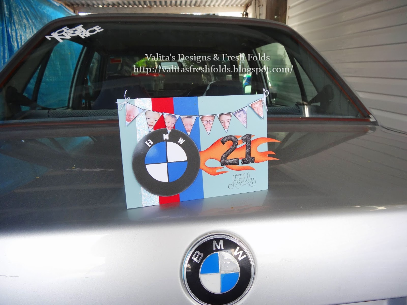 Valitas designs fresh folds bmw card and suprise birthday we recently helped him buy another old school bmw which he loves and that was my inspiration for his card and cake bookmarktalkfo