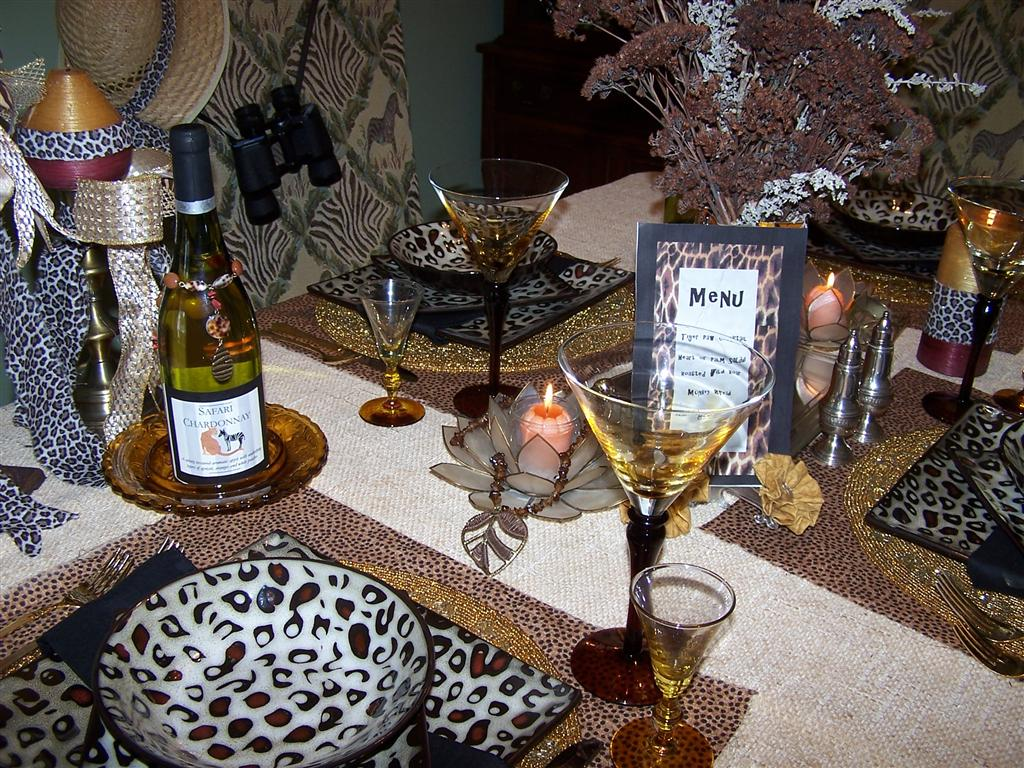 Tablescaping mikasa leopard dishes tablescape for African themed wedding decoration ideas