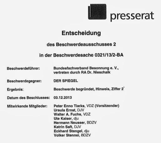 Deutscher Presserat, Hinweis, Beschwerdesache 0321/13/2-BA, Bundesfachverband Besonnung e.V.