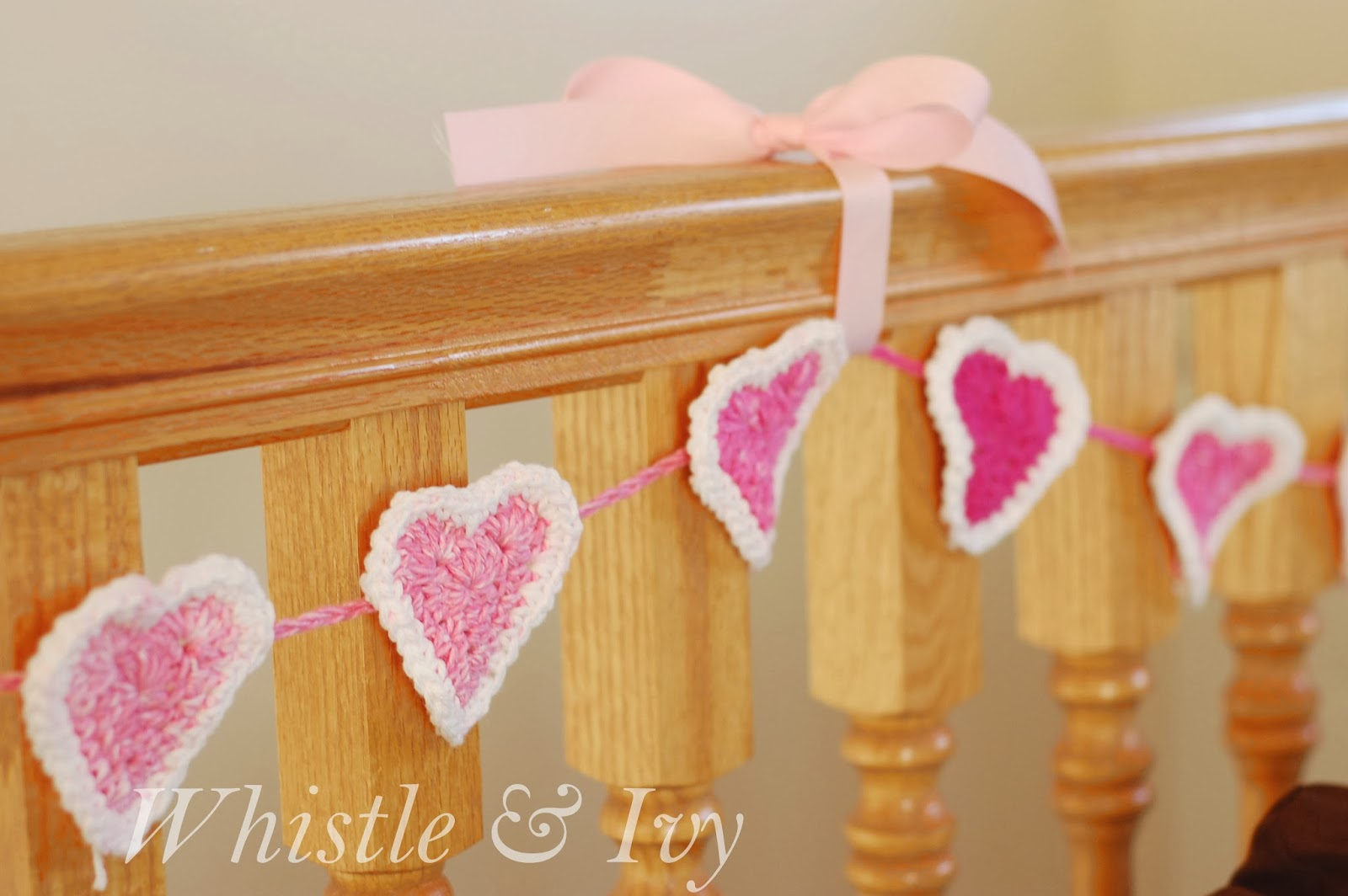 Bubble Heart Crochet Garland Pattern - Whistle and Ivy