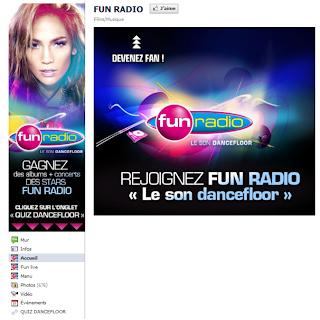 Page Facebook fun radio avant la Timeline (landing page)