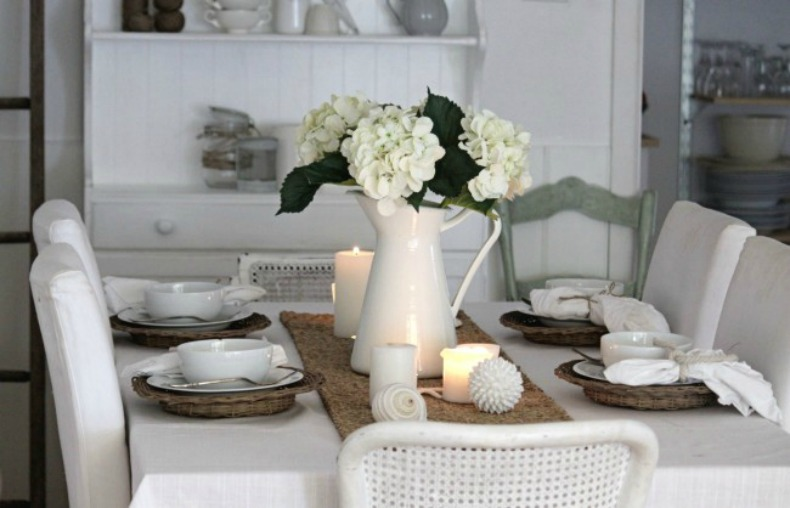white on white cottage chic dining room