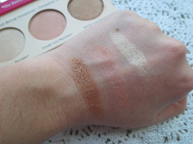 a picture of theBalm The Manizer Sisters palette ; Betty-Lou Manizer, Ciny-Lou Manizer, Mary-Lou Manizer (swatch)