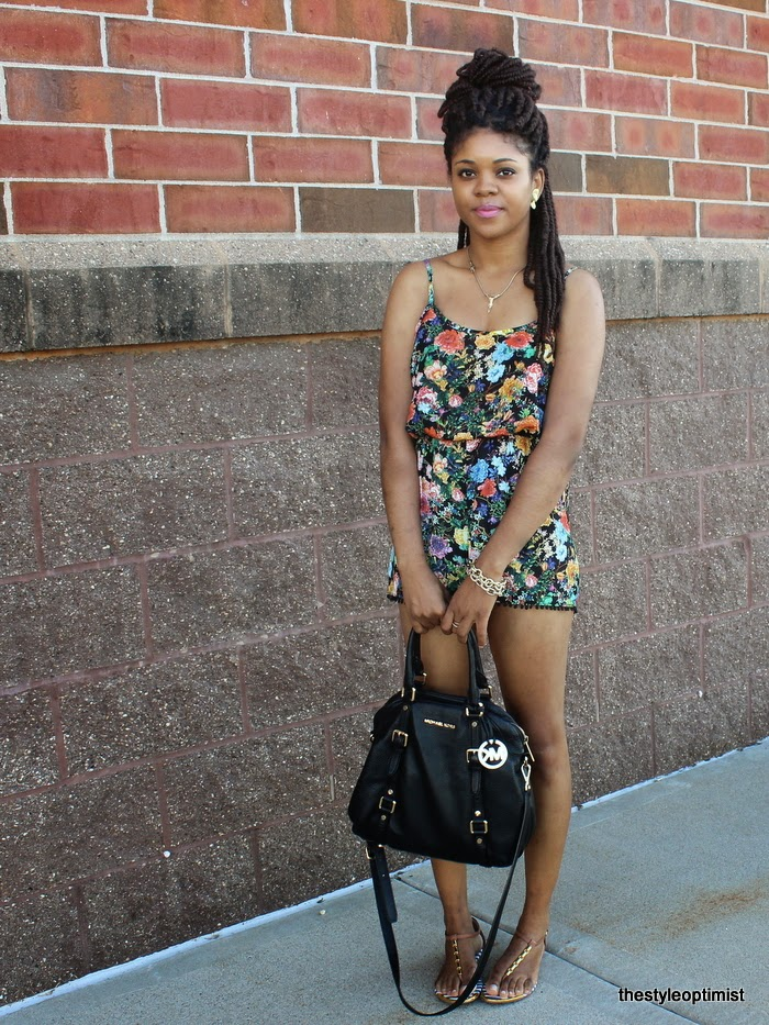 how to wear florals, floral jumpsuit, michael kors bedford bowler, michael kors blag satchel, protective hairstyles, minneapolis fashion blogger, midwest styleblogger, natural hair, dolce vita sandals
