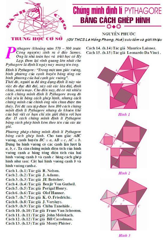 Chứng minh định lí Pi-ta-go bằng nhiều cách