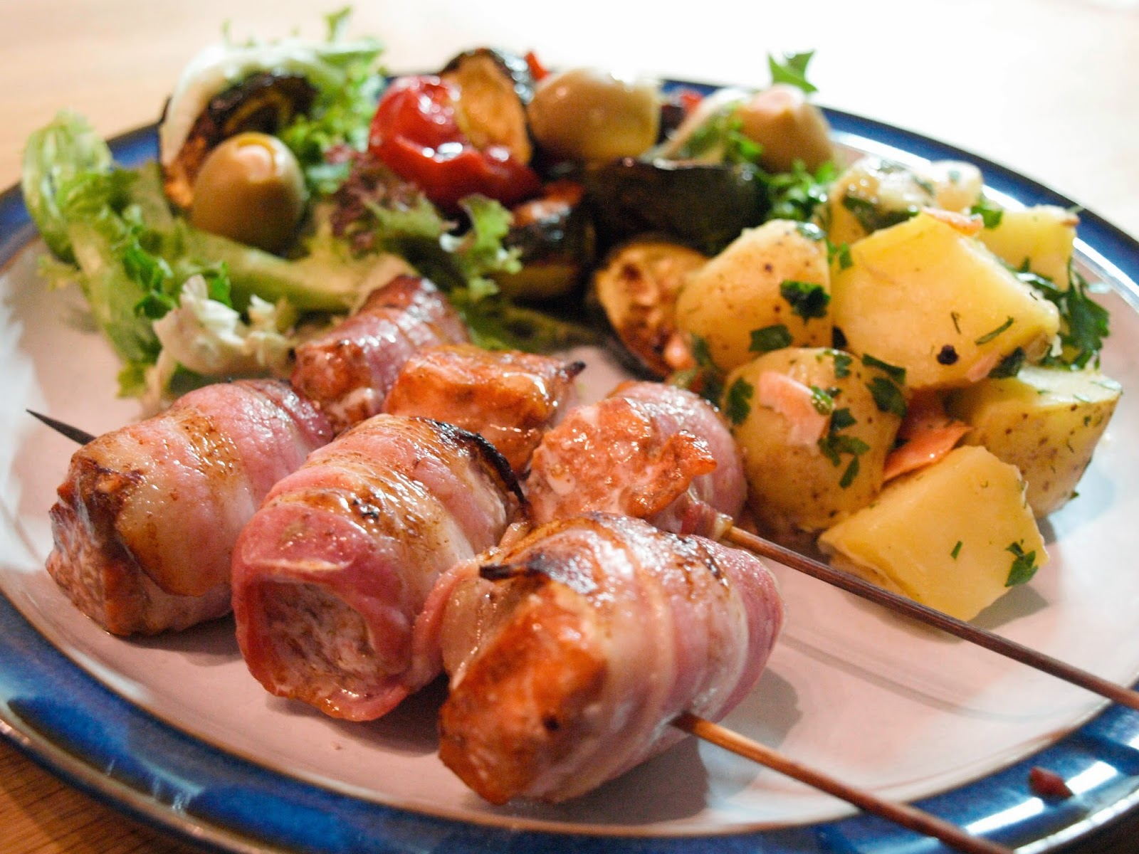 bacon-wrapped trout kebabs with gravadlax potato salad
