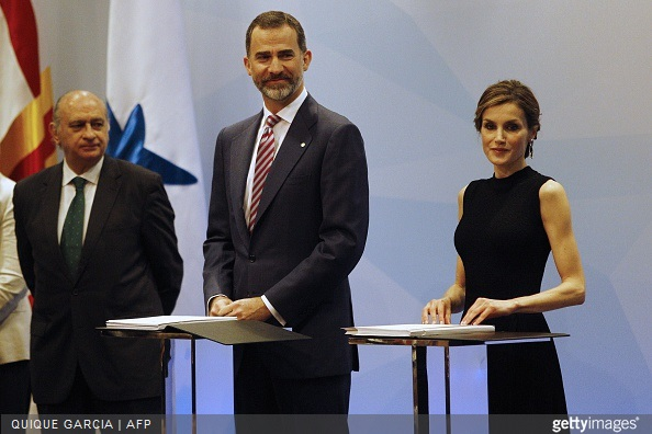 Spanish Interior Minister Jorge Fernandez Diaz, Spain's King Felipe VI and Spain's Queen Letizia preside over the 33rd edition of the Caixa scholarship award ceremony in Barcelona
