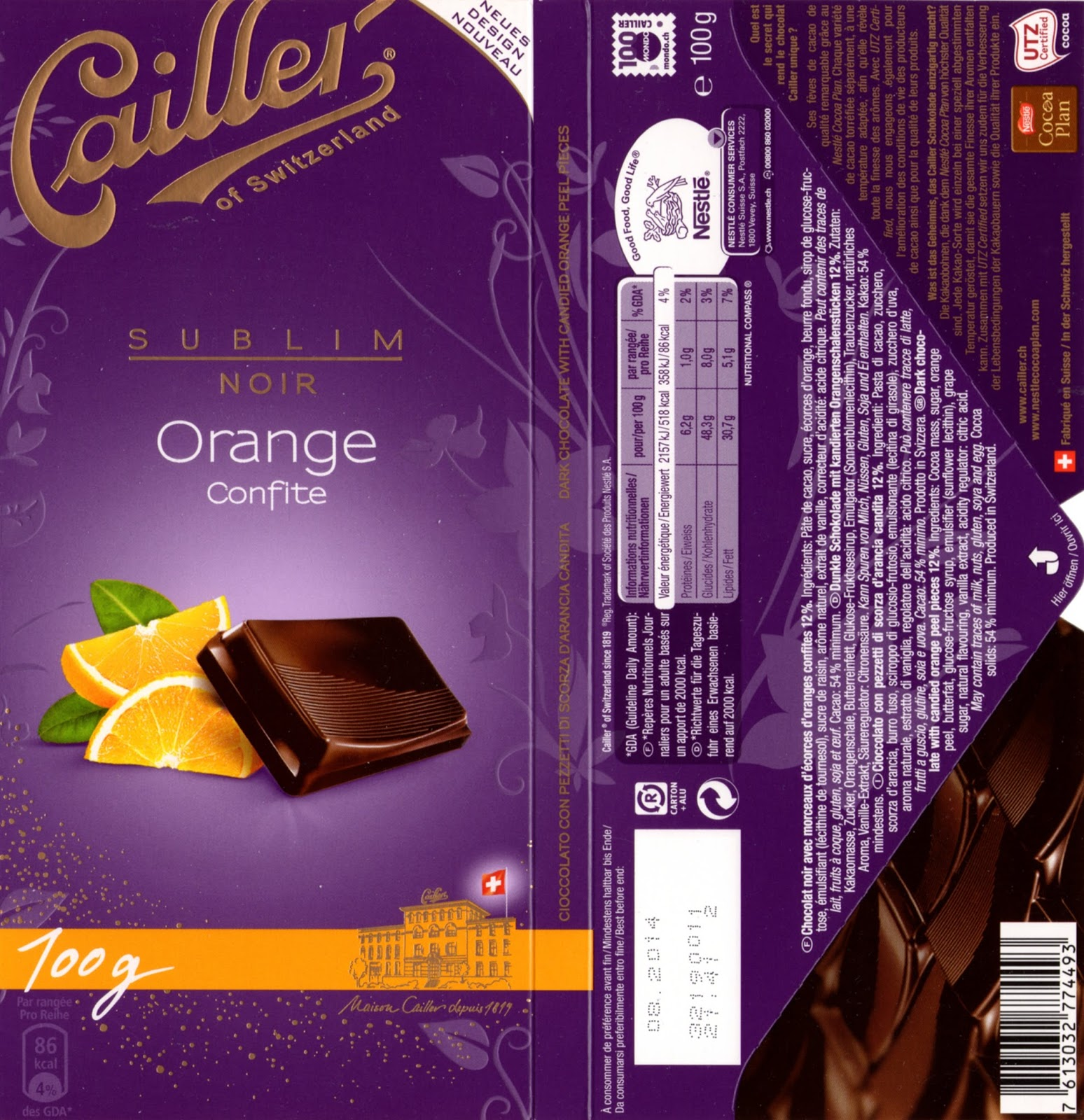 tablette de chocolat noir gourmand cailler sublim noir orange confite