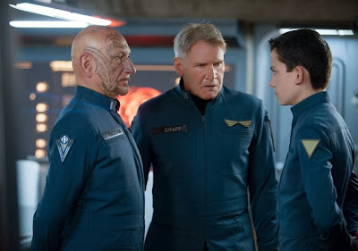 "Ben Kingsley, Harrison Ford, and Asa Butterfield in ""Ender's Game"""