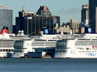Queen Victoria, Norwegian Gem and Norwegian Jewel at the Manhattan Cruise Terminal.