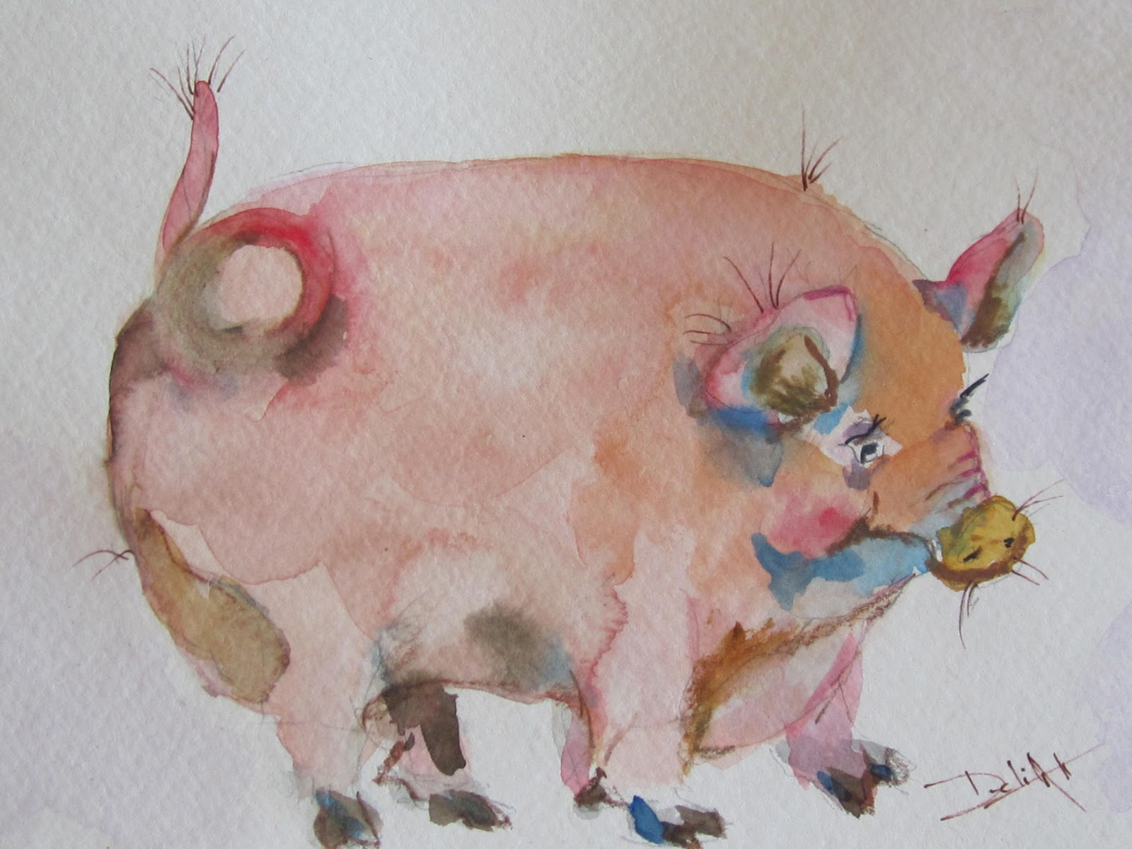 painter pig watercolor pig painting