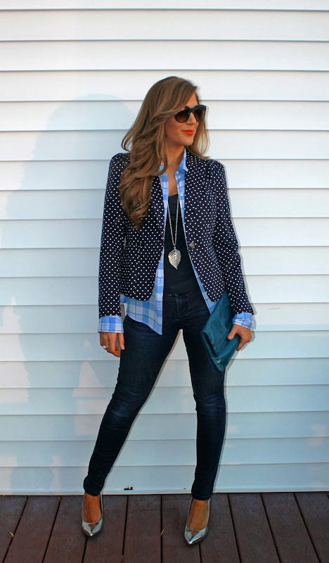 What I'm wearingdenim: Elle (Kohl's), navy tee: Old Navy, checkered  title=