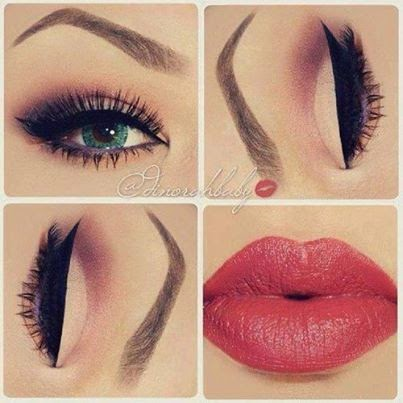 adorable womens eye shadow & lips makeup fashion