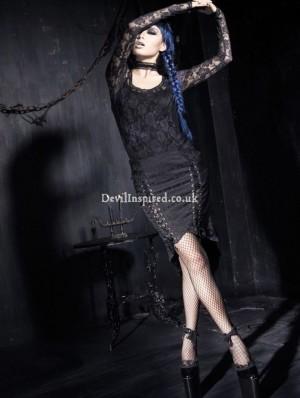 Black Gothic Cyber Punk Skirt for Women