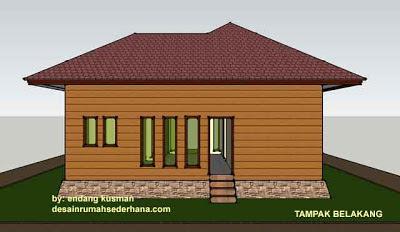 Desain Rumah Mungil Minimalis - Tampak Belakang