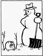 Calvin and Hobbes Snowmen Cake - Comic Frame of Snowman with Shovel and Snowman Buried in Snow by Bill Watterson