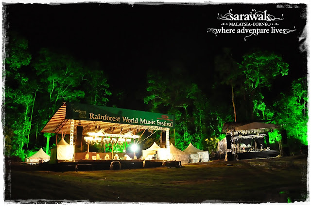 The jungle and tree stage resplendent in the glow of jungle green against the jungle backdrop of Mt.Santubong