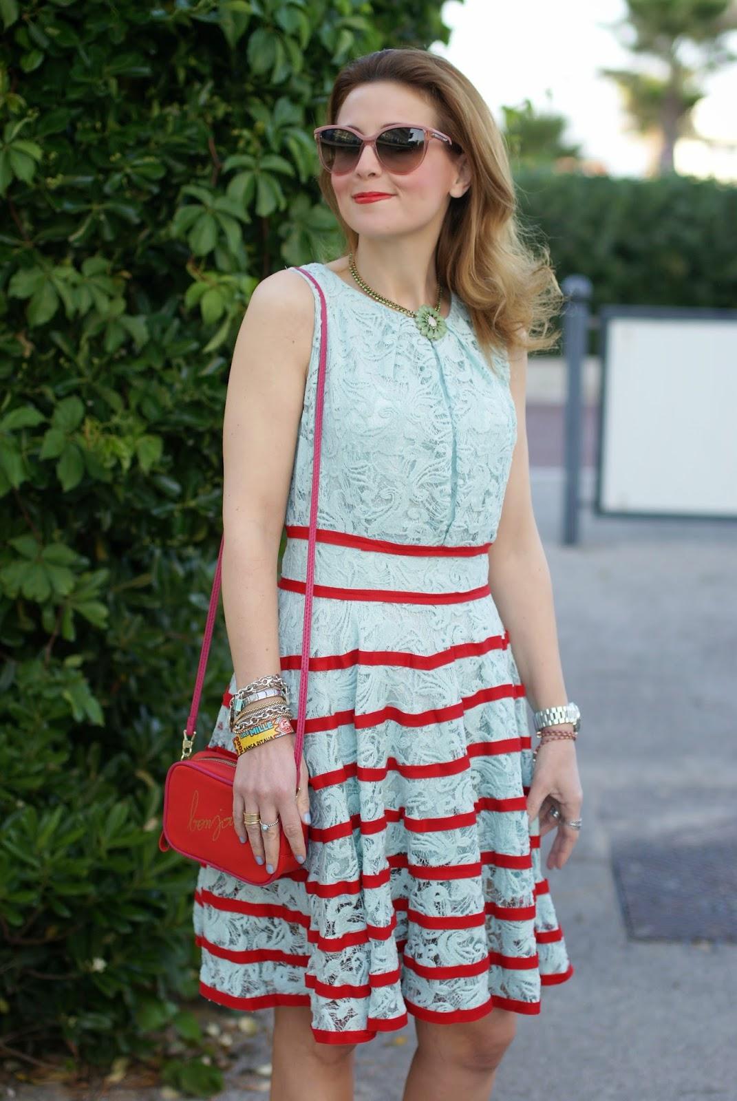 lace mint midi dress, chicwish lace dress, bonjour bag, Fashion and Cookies, fashion blogger