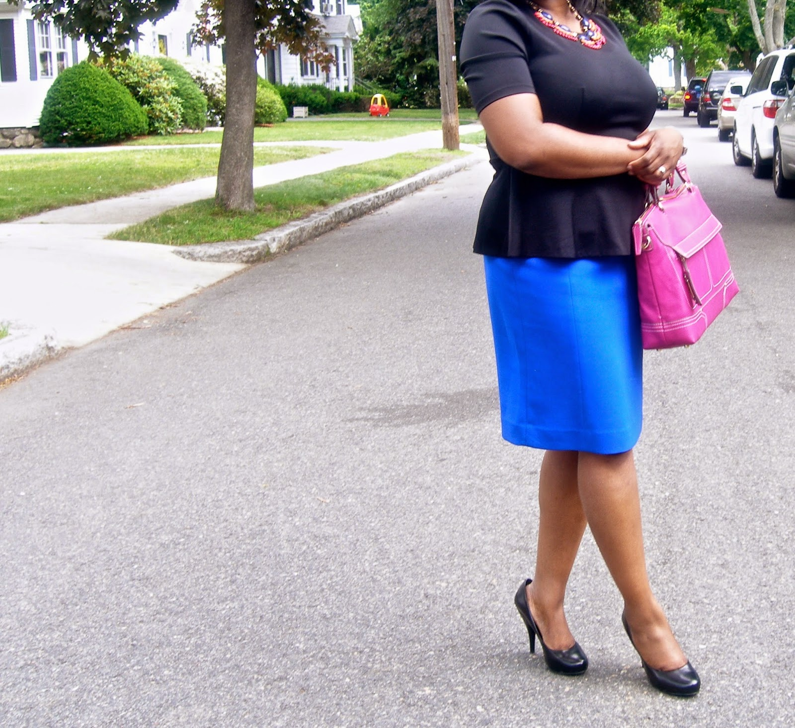Peplum and pencil skirt, the limited pencil skirt, bcgb pumps