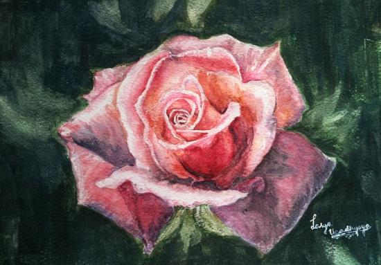 Rosy Blush, painting by Lasya Upadhyaya (part of her portfolio on www.indiaart.com)