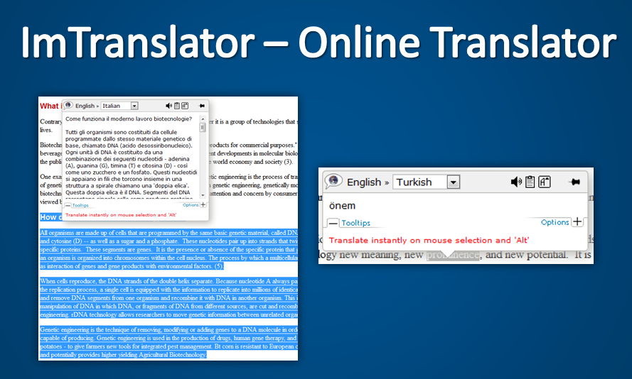 Imtranslator - online translator and dictionary extension for firefox