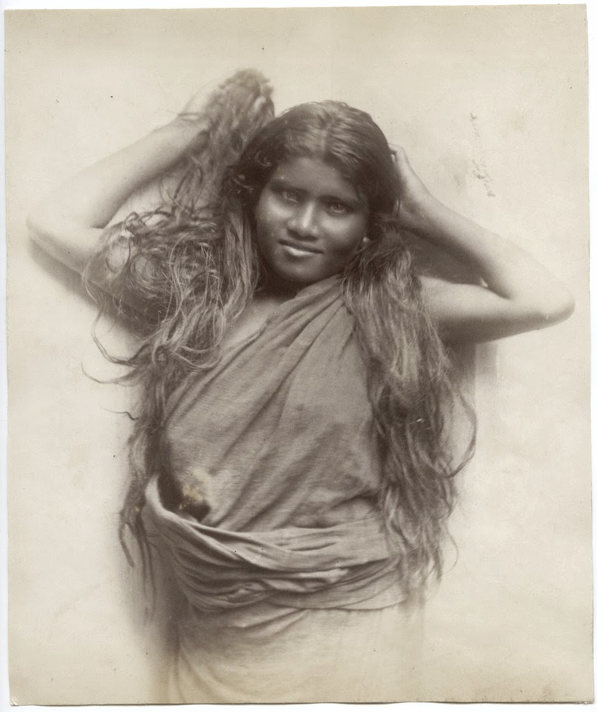ceylon (sri lanka) girl with long hair - c1880's - old indian photos