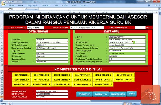 Aplikasi Instrumen PKG (Penilaian Kinerja Guru) BK Format Microsoft Excel