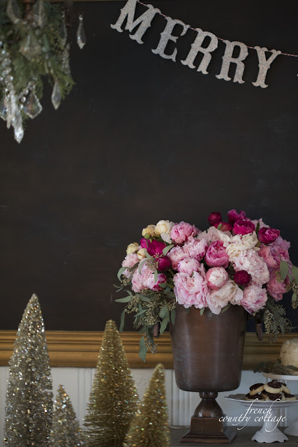 New Years Eve Table gold bottlebrush trees peonies