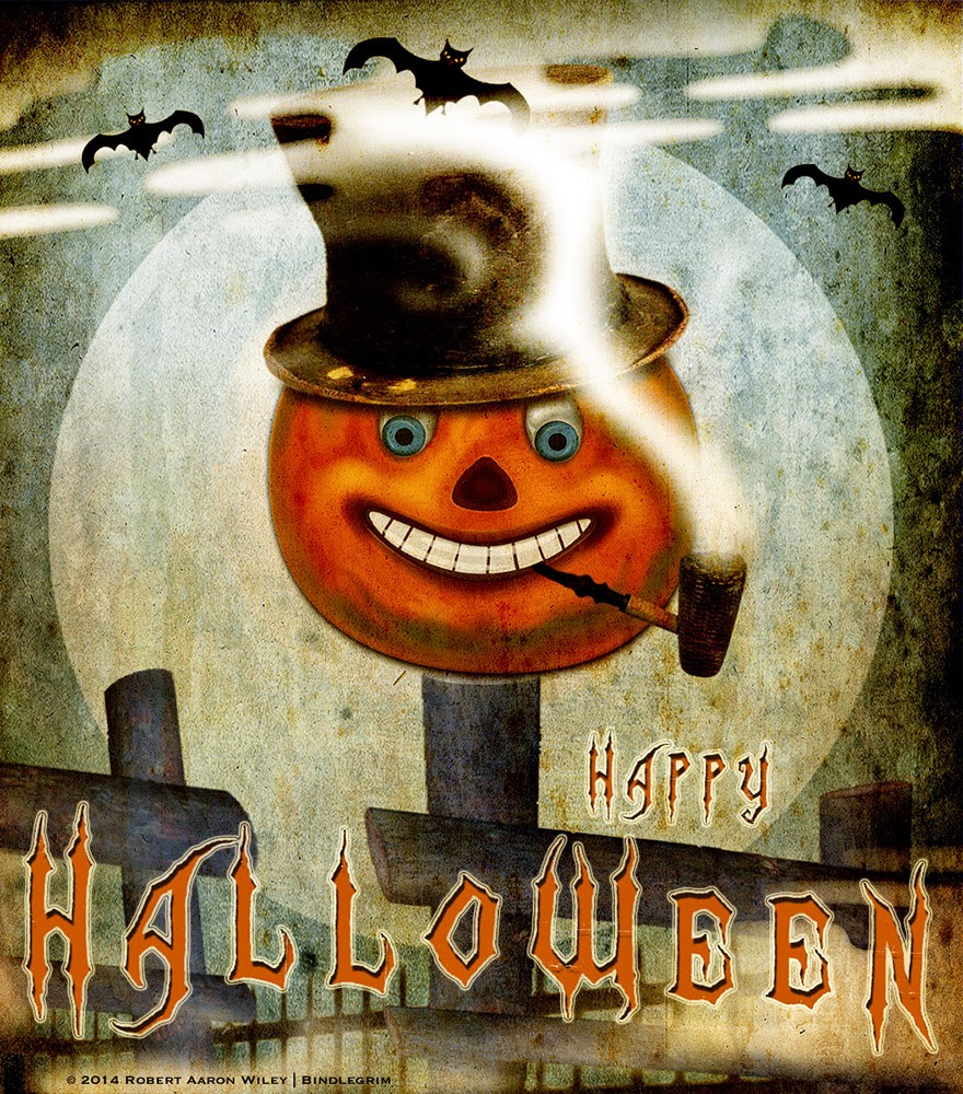 Jack O'Lantern pumpkin with corncob pipe and top hat on an old fence post, original art by holiday artist Bindlegrim