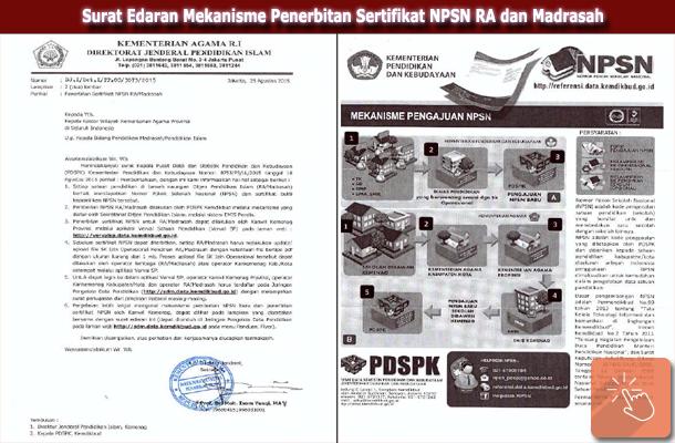 Surat Edaran Mekanisme Penerbitan Sertifikat NPSN RA dan Madrasah