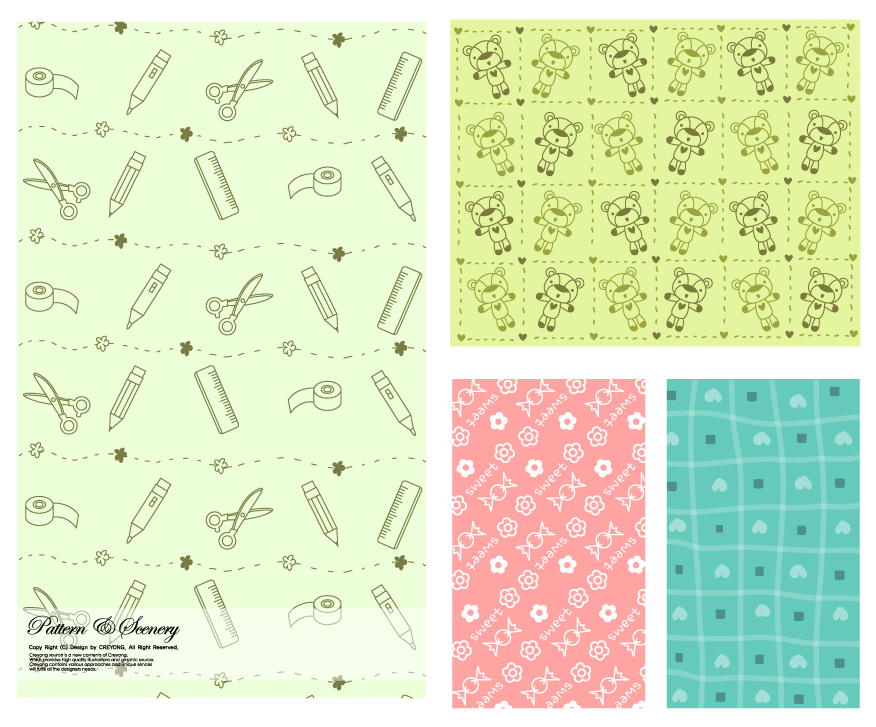 文房具や縫いぐるみの背景 Lovely background series イラスト素材