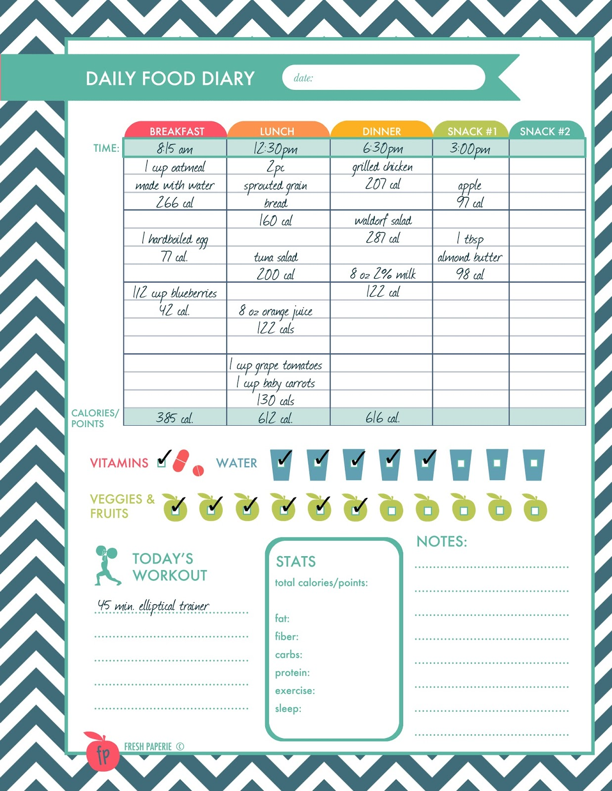 weight loss journal printables