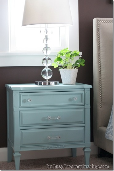 But Matching Paint And Glass Knobs Pulls Tie The Two Together Beautifully And The Turquoise Paint Color Against The Bold Brown Walls Perfection