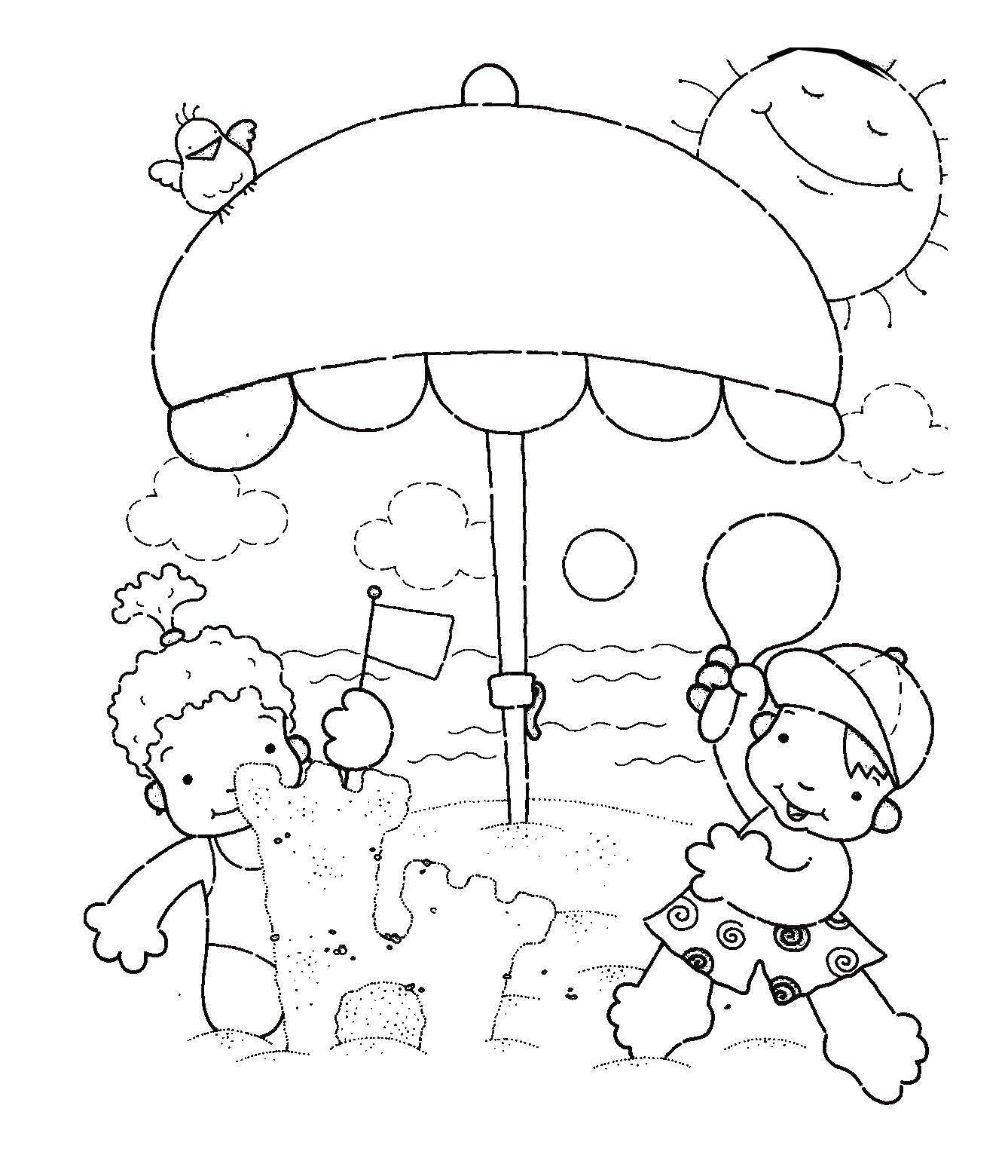 Único Playa Para Colorear Imprimible Adorno - Dibujos Para Colorear ...