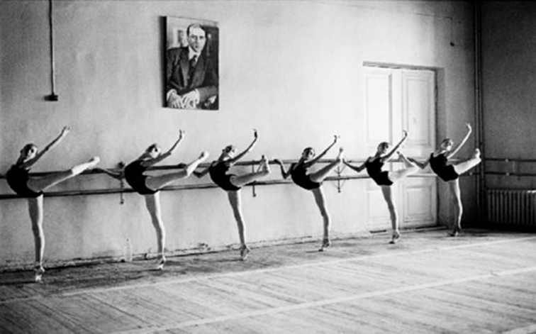 Ballerinas at the barre, young dancers