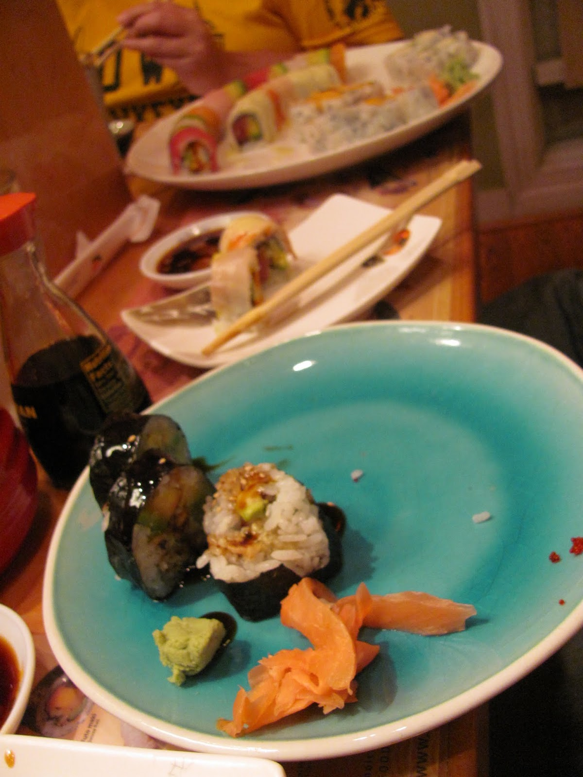 Partially eaten plate of sushi in Alexandria, VA