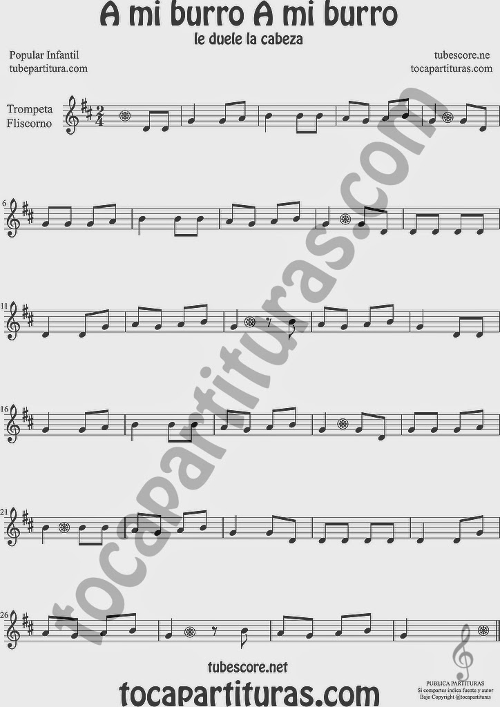 A mi Burro A mi Burro Partitura de Trompeta y Fliscorno Sheet Music for Trumpet and Flugelhorn Music Scores